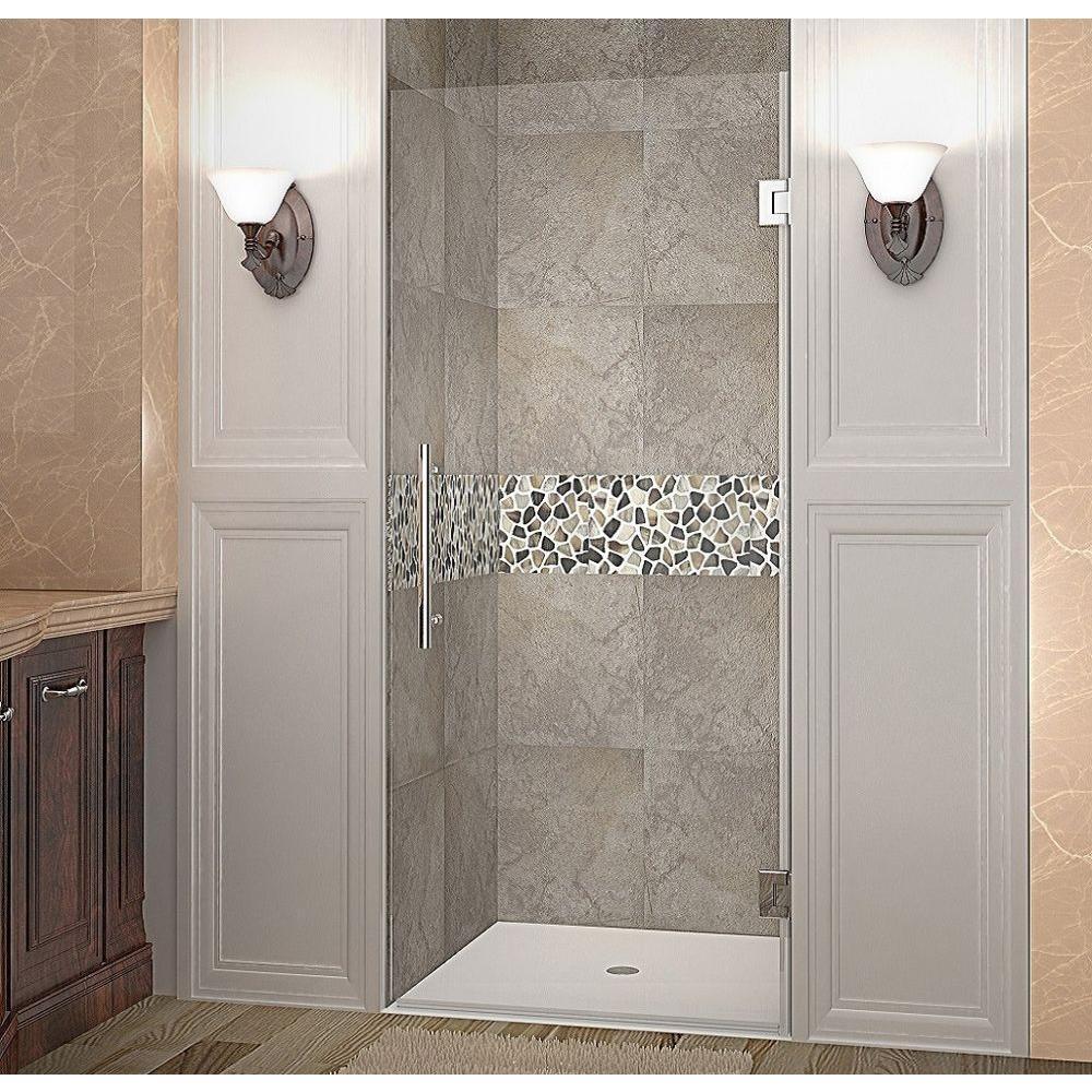 Cascadia 35 in. x 72 in. Completely Frameless Hinged Shower Door in Chrome
