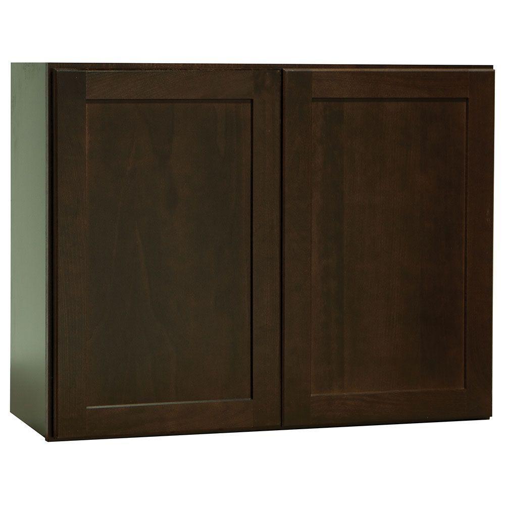 Shaker Assembled 30x23.5x12 in. Wall Bridge Kitchen Cabinet in Java