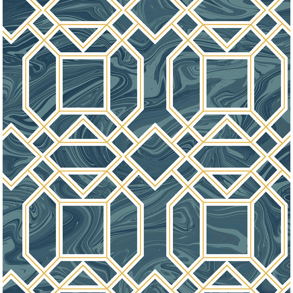 8 in. x 10 in. Daphne Blue Trellis Wallpaper Sample