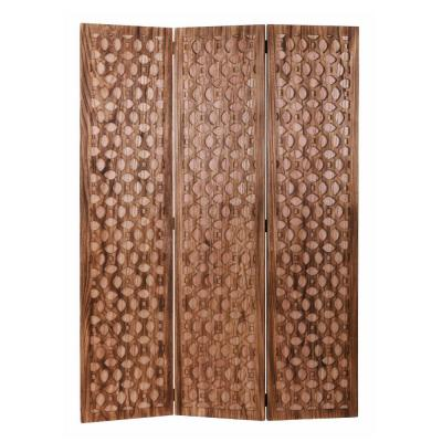Mariana 67 in Colorful Carved Brown Wood Screen Panel