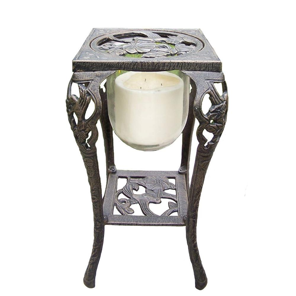 Oakland Living Hummingbird Candle Holder with Candle, Antique Bronze