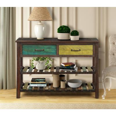 45 in. Brown Standard Rectangle Wood Console Table with Drawers and 2-Shelves
