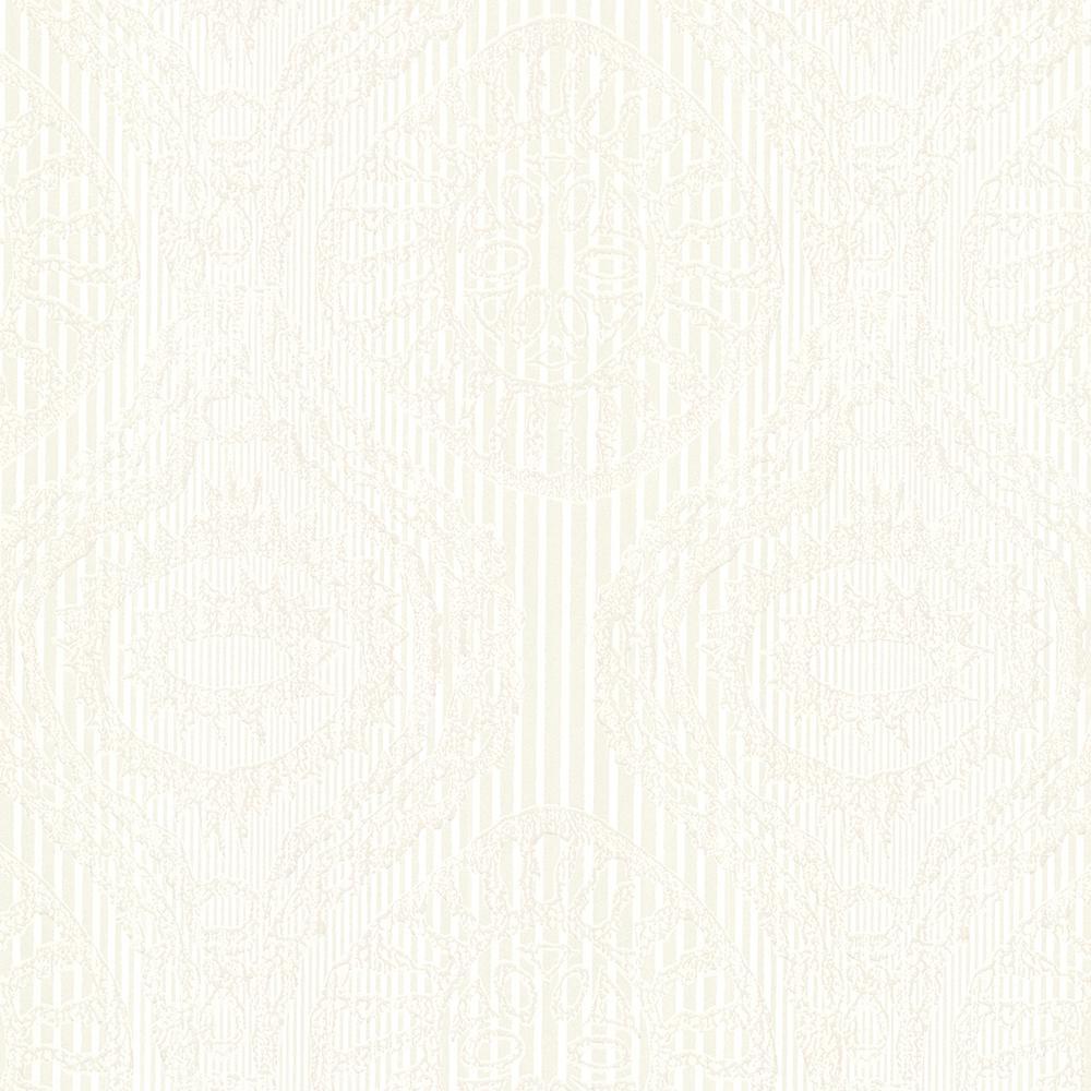 Brewster Cream Marrakech Medallion Stripe Wallpaper Sample HZN43031SAM