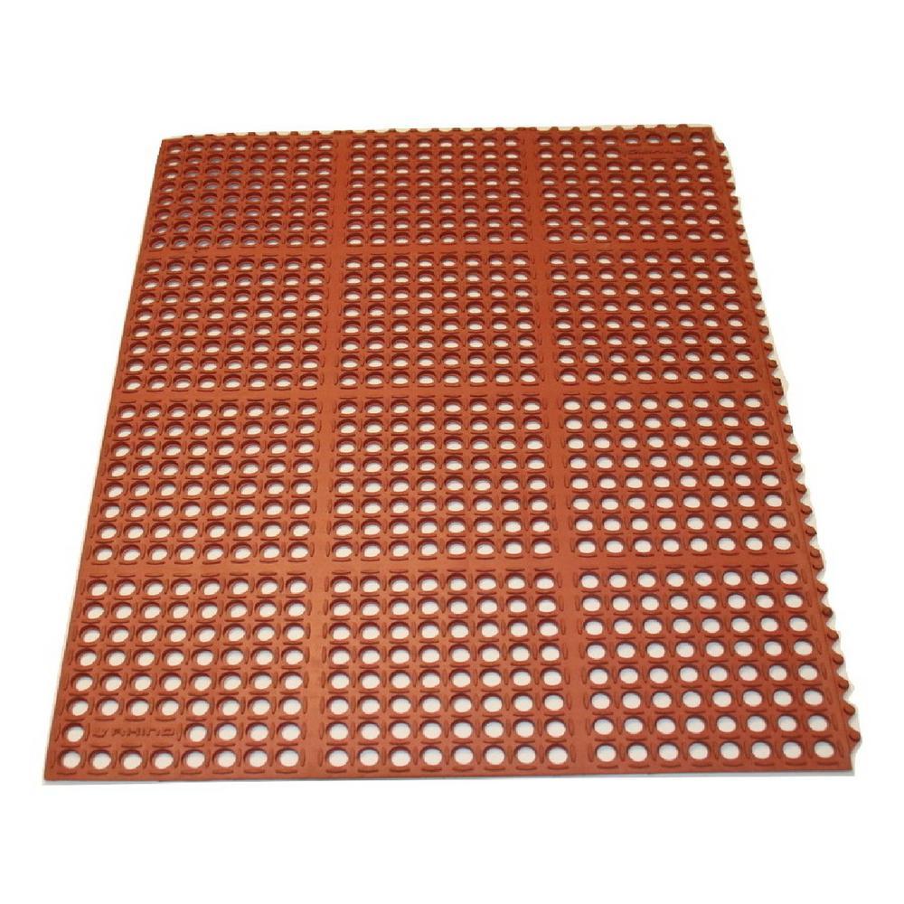 K-Series Terra Cotta 36 in. x 60 in. x 7/10 in. Drain-Thru Grease-Proof Rubber Kitchen Mat