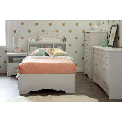 Tiara 1-Drawer Pure White Nightstand