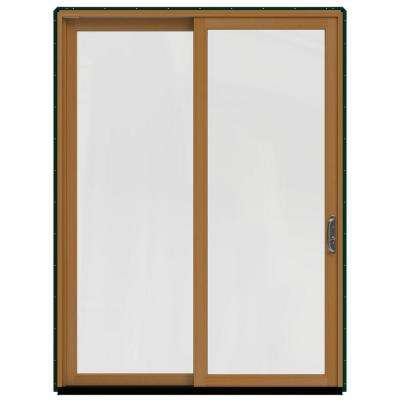 72 in. x 96 in. W-2500 Contemporary Green Clad Wood Right-Hand Full Lite Sliding Patio Door w/Stained Interior