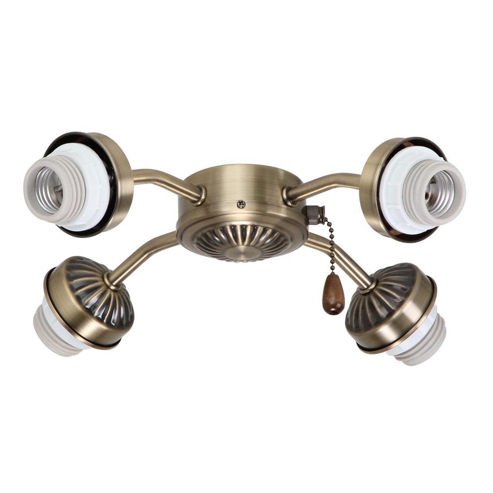 4-Light Antique Brass Arm Fitter