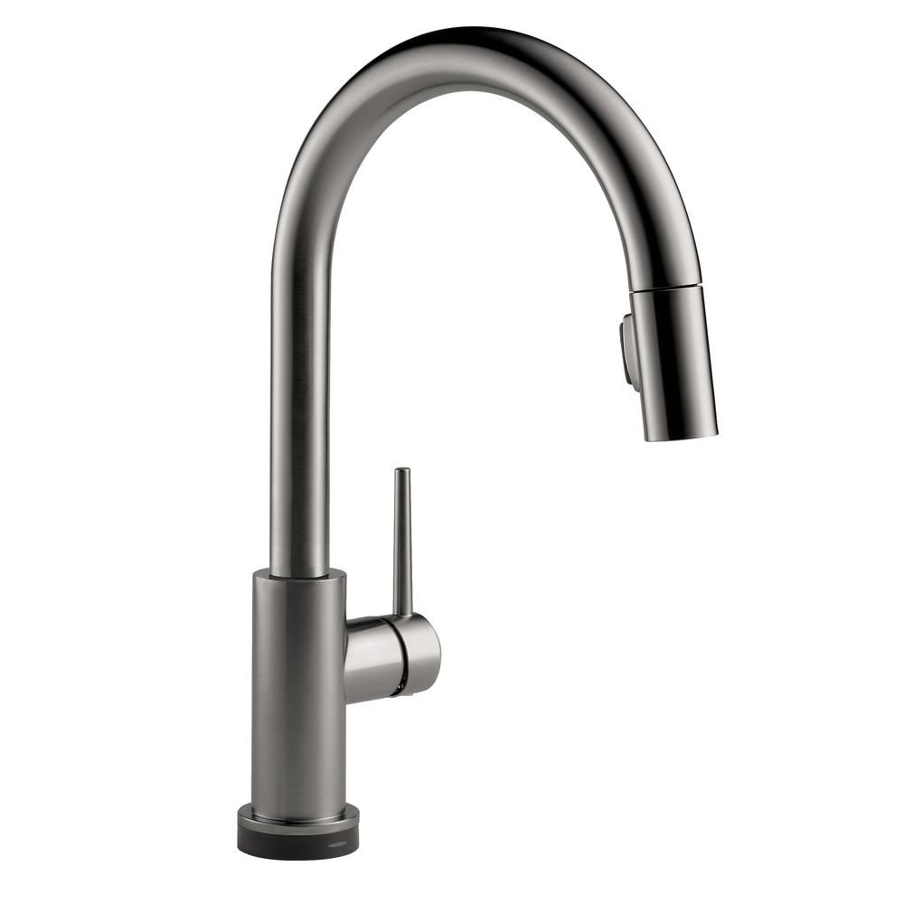 Trinsic Single-Handle Pull-Down Sprayer Kitchen Faucet with Touch2O Technology in Black Stainless