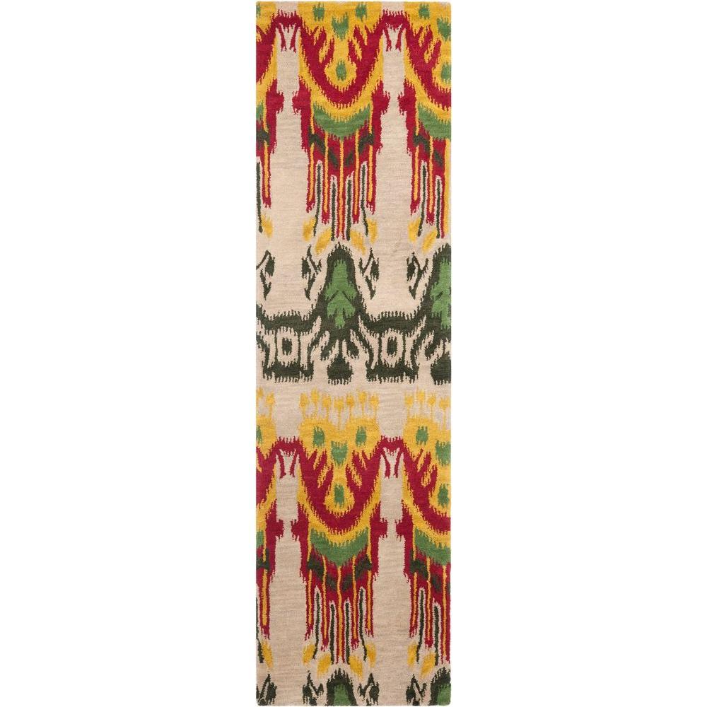 Ikat Beige/Yellow 2 ft. x 10 ft. Runner Rug