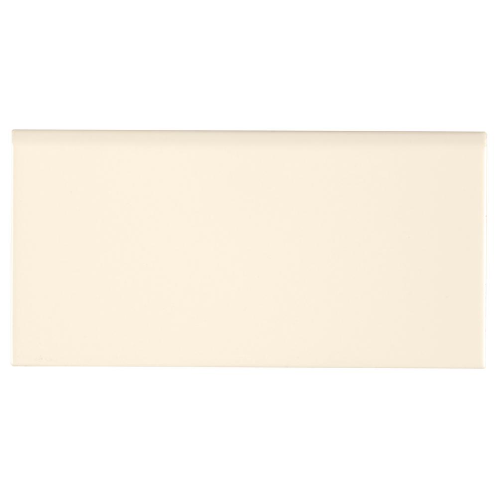 Almond Glossy Bullnose 3 in. x 6 in. Glazed Ceramic Wall