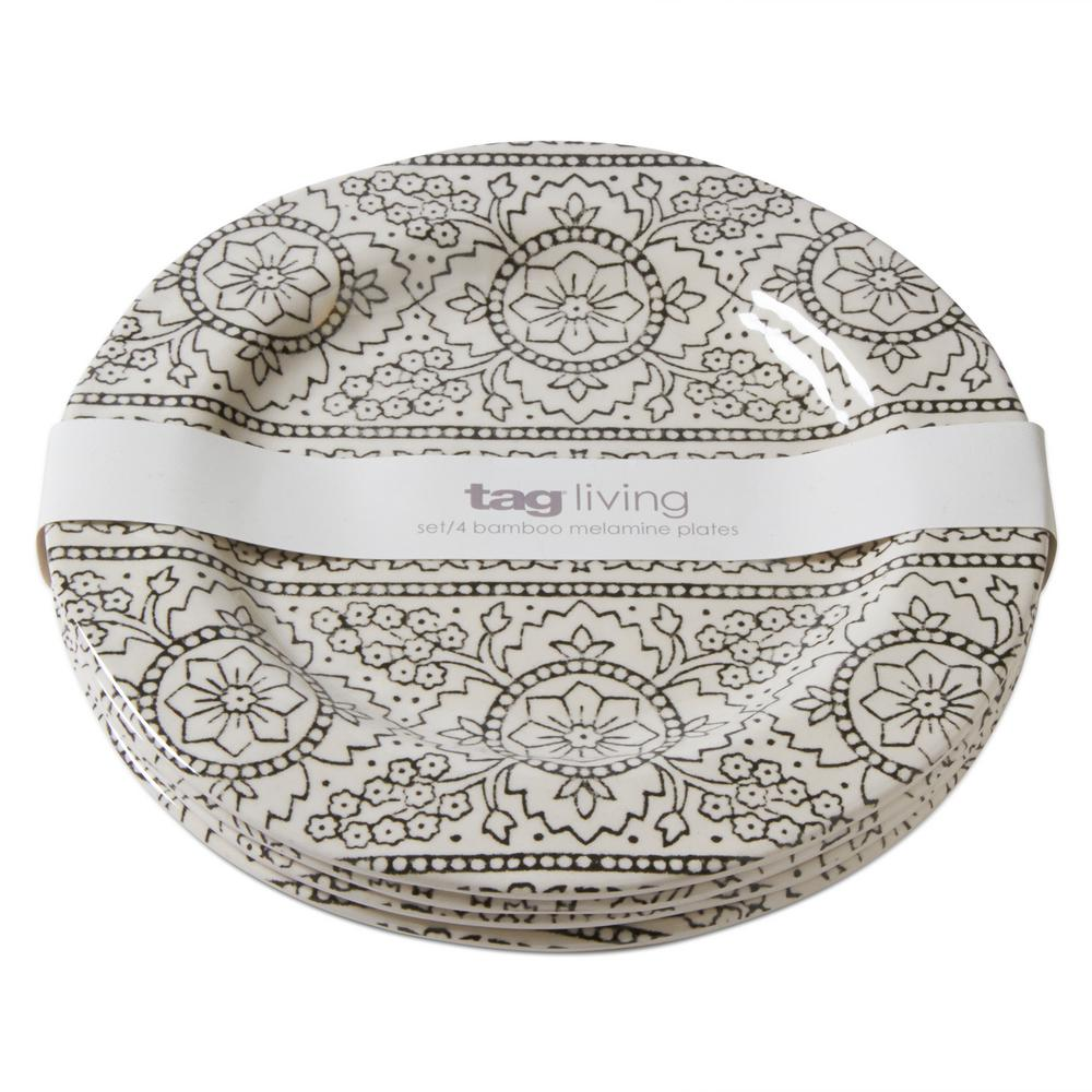 Tag Natural/Black Henna Bamboo Melamine Salad Plate (Set of 4)  sc 1 st  The Home Depot : bamboo plate - pezcame.com