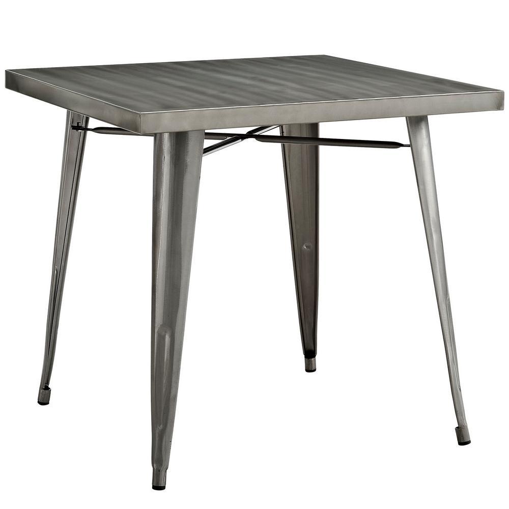 Alacrity Gunmetal Square Metal Dining Table
