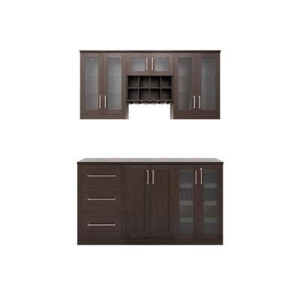 Home Bar 21 in. Espresso Cabinet Set (7-Piece)