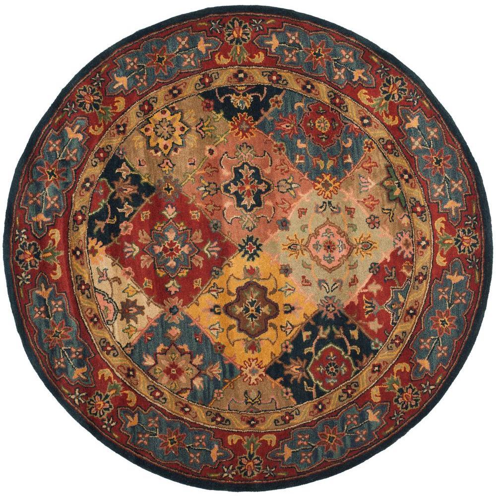safavieh heritage red multi 8 ft x 8 ft round area rug hg926a 8r the home depot. Black Bedroom Furniture Sets. Home Design Ideas