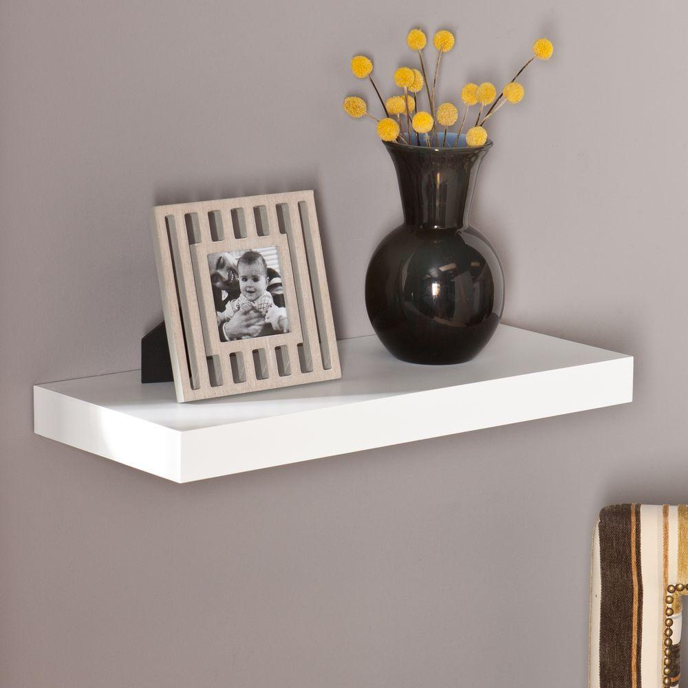 Floating shelves shelves shelf brackets storage milson decorative floating shelf in white amipublicfo Gallery