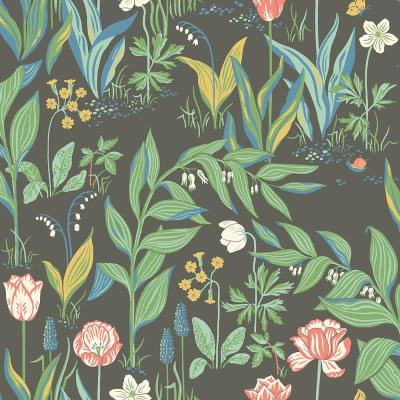 Spring Garden Multicolor Botanical Wallpaper Sample