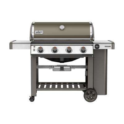 Genesis II E-410 4-Burner Propane Gas Grill in Smoke with Built-In Thermometer