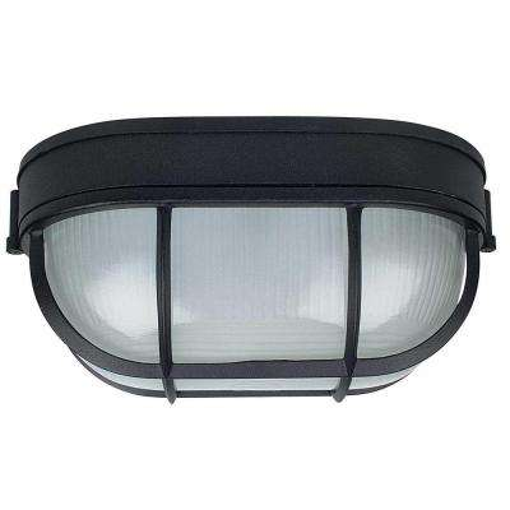 1-Light Black Outdoor Bulk Head with Prismatic Glass