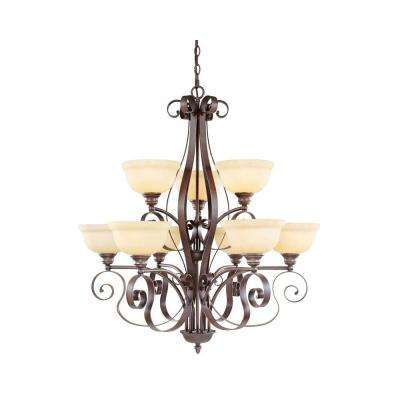 6-Light Imperial Bronze Chandelier with Vintage Scavo Glass