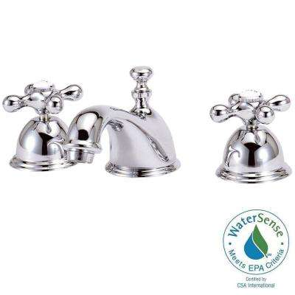 Bradsford 8 in. Widespread 2-Handle Mid-Arc Bathroom Faucet in Satin Nickel with Metal Cross Handles