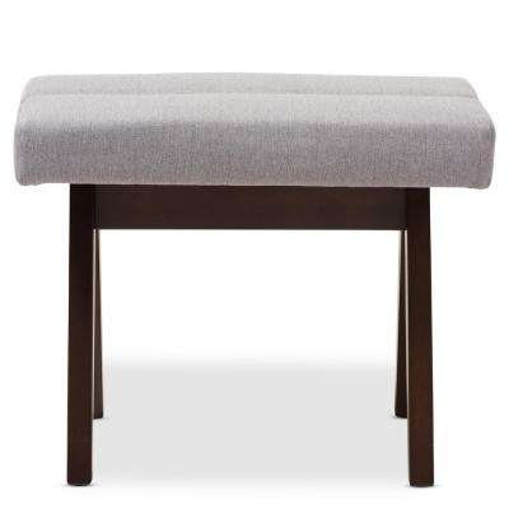 Vino Mid-Century Gray Fabric Upholstered Ottoman