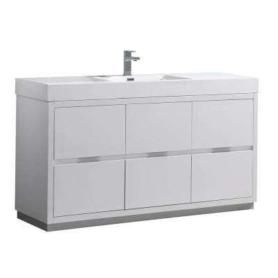 Valencia 60 in. W Bathroom Vanity in Glossy White with Double Acrylic Vanity Top in White