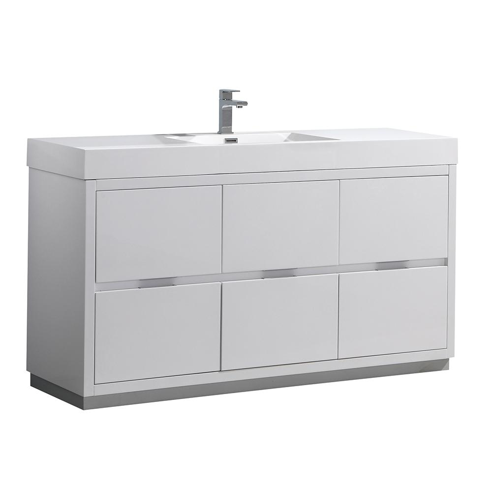 Fresca Valencia 60 in. W Bathroom Vanity in Glossy White with Double ...