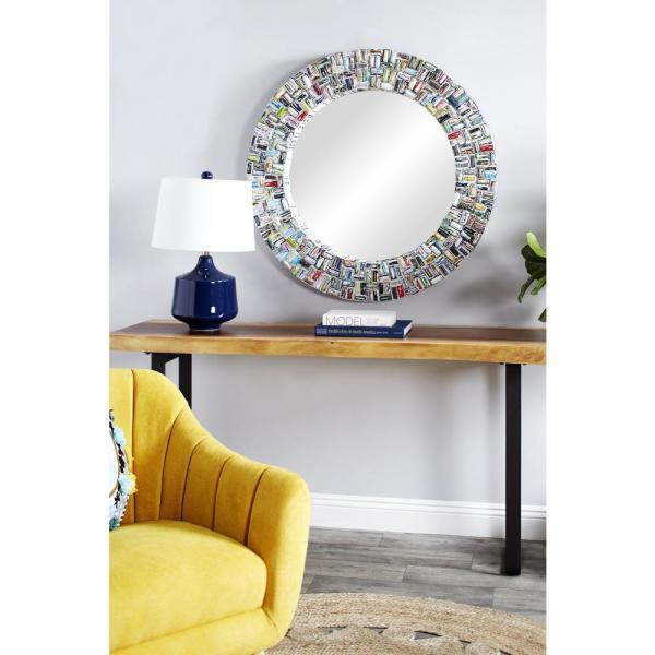 Litton Lane Round Colorful Abstract Art Wall Mirror 38993