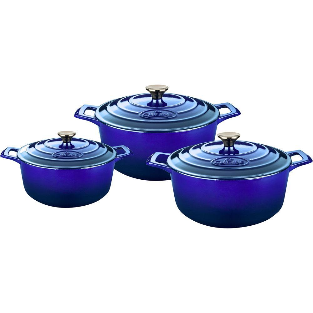 La cuisine pro 6 piece cast iron round casserole set with for 3 pieces cuisine
