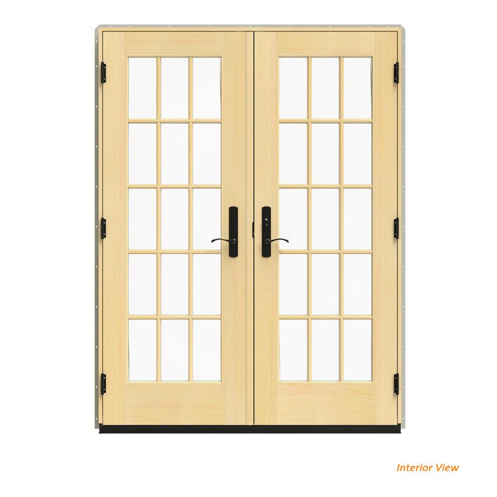 W 4500 Desert Sand Clad Wood Left Hand 15 Lite French Patio Door Lacquered Interior