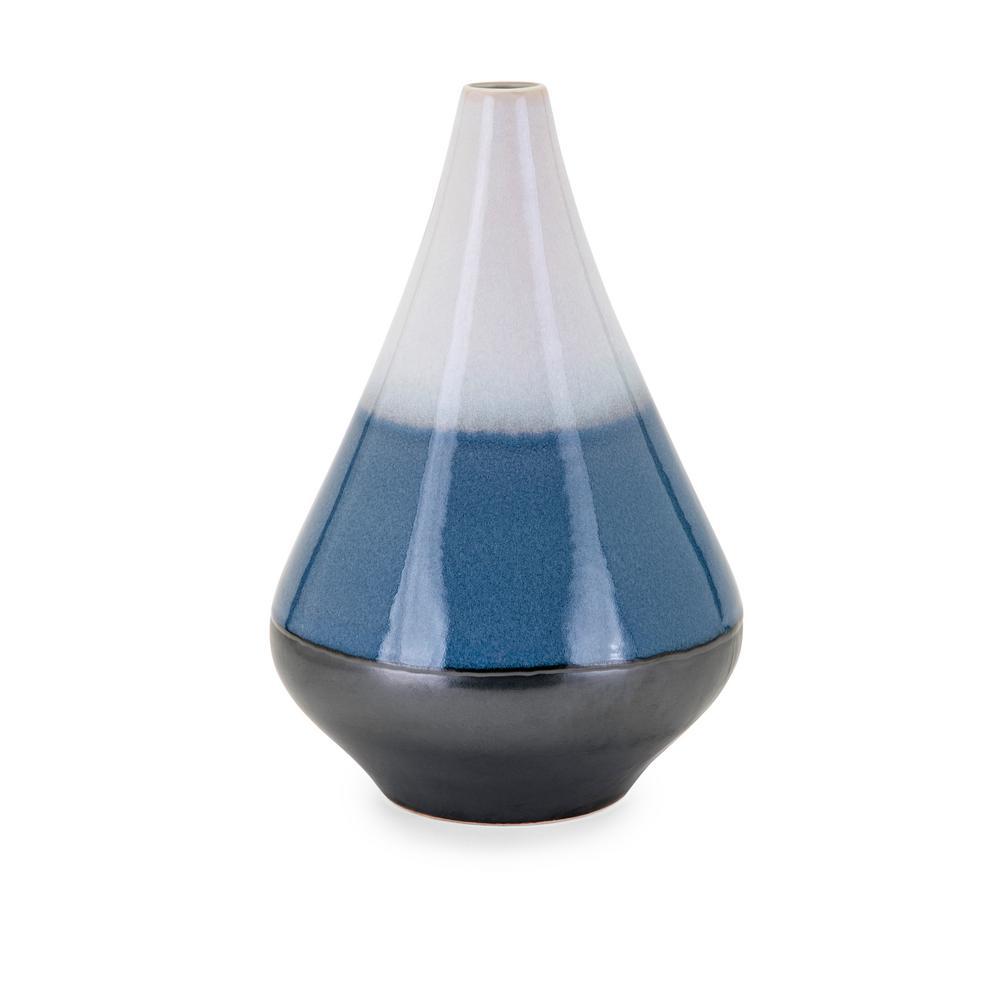 Medium Blue Ceramic Decorative Vase