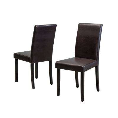 Ryan Brown Bonded Leather Dining Chair (Set of 2)