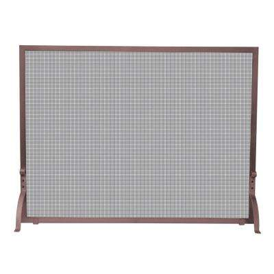 Antique Copper Single-Panel Fireplace Screen