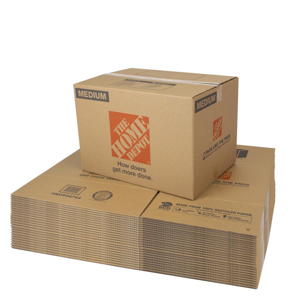 The Home Depot Medium Moving Box 25-Pack (22 in. L x 16 in. W x 15 in. D) The Home Depot Medium Moving Box is great for storing and shipping moderately heavy or bulky items. Ideal for kitchen items, toys, small appliances and more. This box is crafted from 100% recycled material for an environmentally responsible moving and storage option.