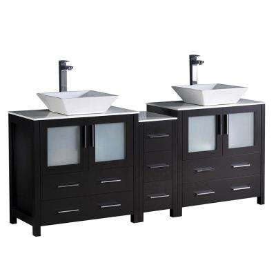 Torino 72 in. Double Vanity in Espresso with Glass Stone Vanity Top in White with White Basins