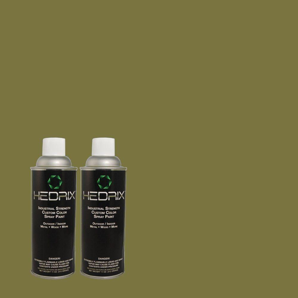 Hedrix 11 oz. Match of MQ6-62 Coconut Grove Semi-Gloss Custom Spray Paint (2-Pack)