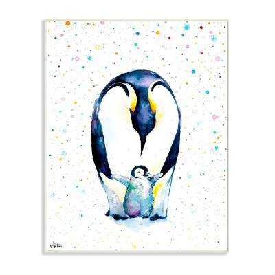 "10 in. x 15 in. ""Watercolor Polka Dot Splatter Penguin Mom and Baby Family"" by Marc Allante Wood Wall Art"