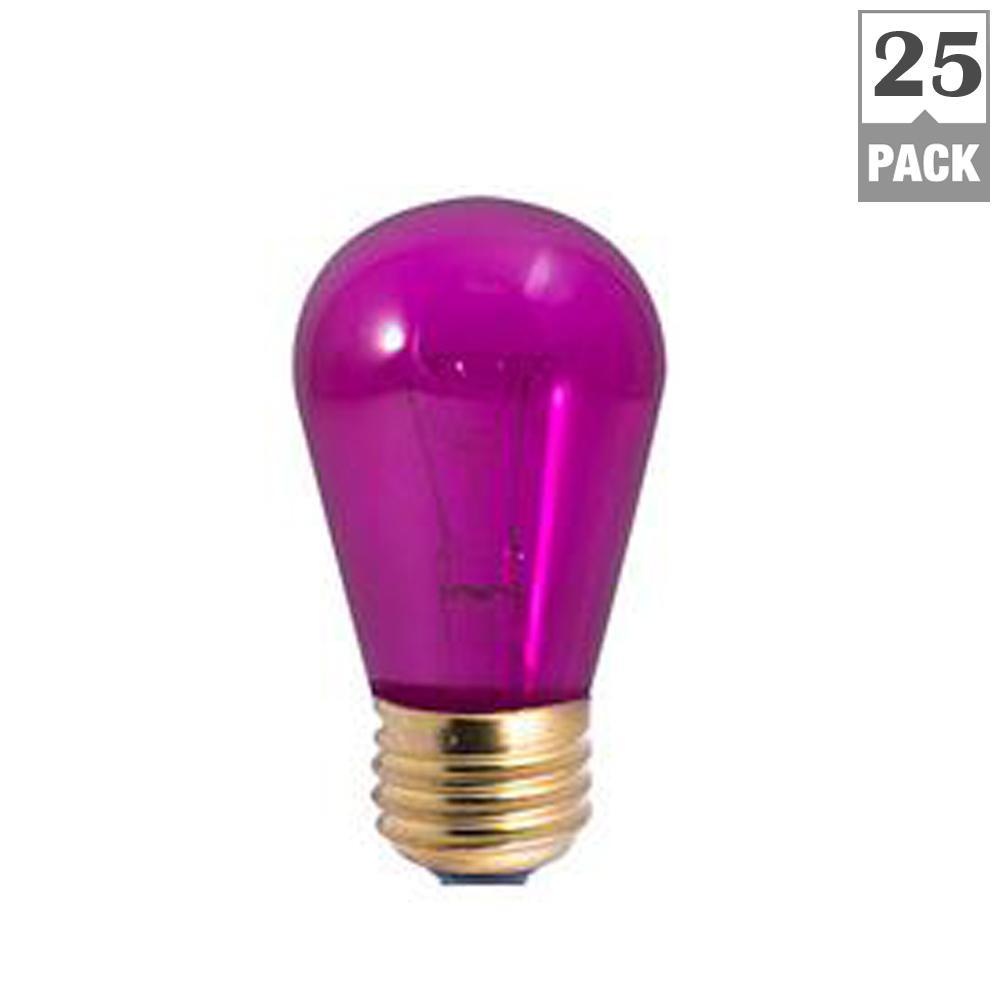 11-Watt S14 Transparent Purple Dimmable Incandescent Light Bulb (25-Pack)
