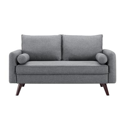 Callie 32.3 in. Grey Polyester 2-Seater Loveseat with Removable Cushions