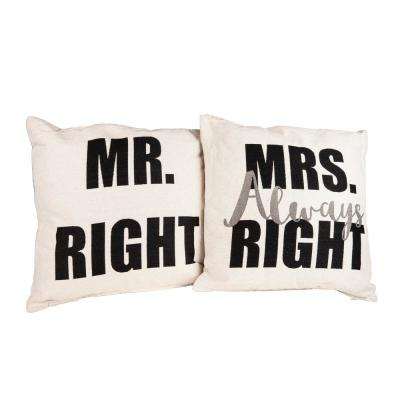 Ivory Mr Right Ms Always Right Throw Accent Decorative Pillow (Set of 2)