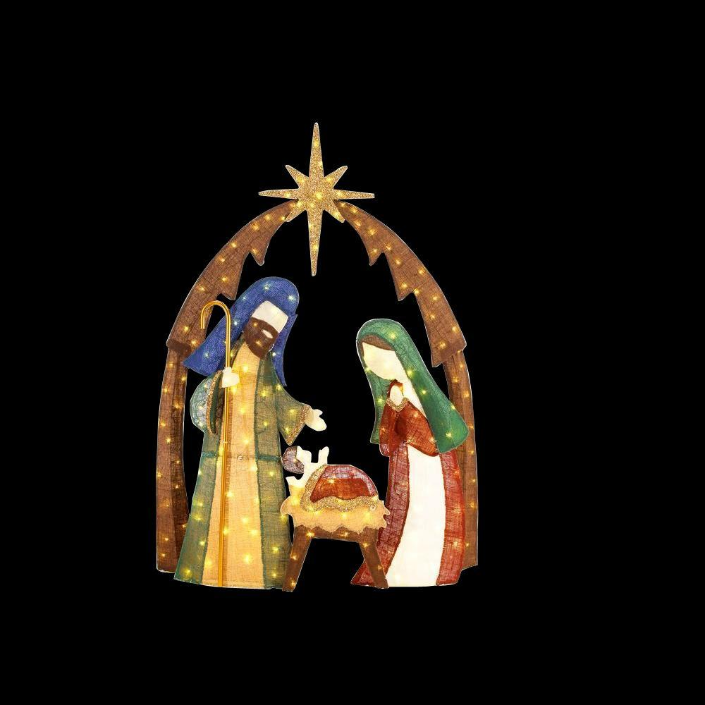 home accents holiday 76 in led lighted burlap nativity scene - Lighted Christmas Lawn Decorations