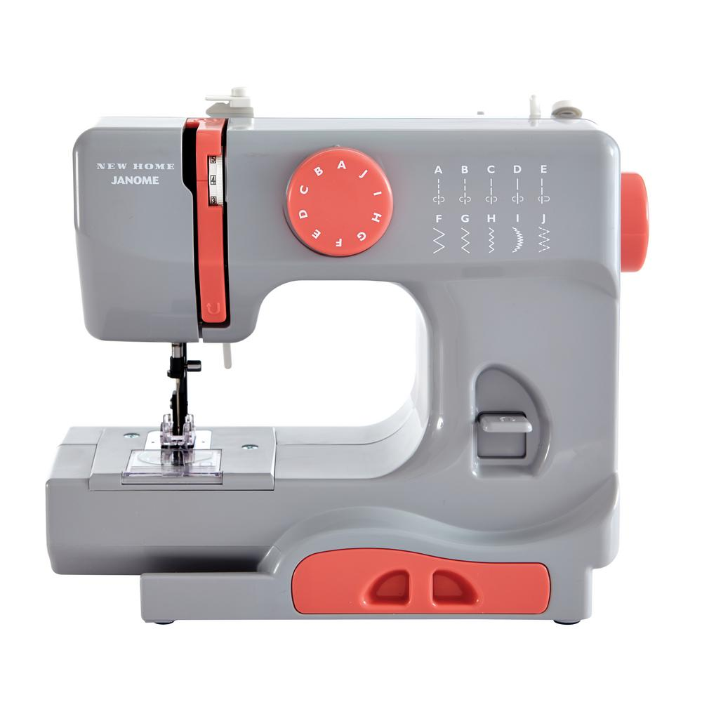 10-Stitch Sewing Machine, Gray This compact Janome sewing machine is a great choice for both the experienced sewist and the young enthusiast. This compact machine includes essential features for finishing many types of sewing projects, from simple tasks and mending to scrapbooking and paper crafting. At just 5 lbs., it's perfectly portable. It has ten stitch options and a left and center needle position. It features a tension control dial and a four-point feed dog system. Other colors available. Color: Gray.