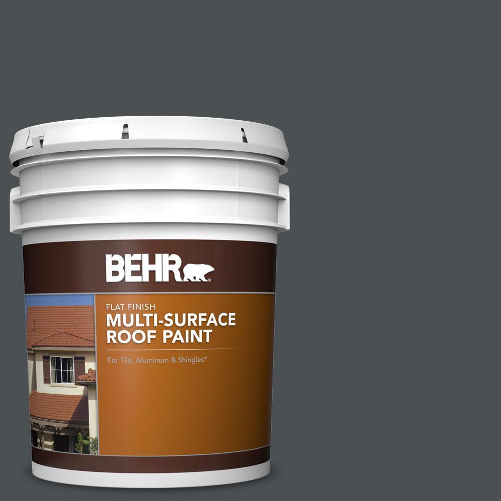 5 gal. #PPU26-01 Satin Black Flat Multi-Surface Exterior Roof Paint