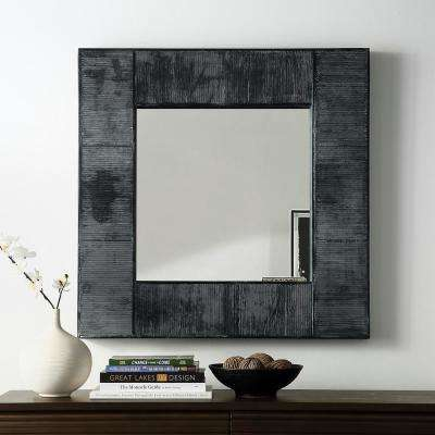 32 in. Transitional Modern Farmhouse Urban Industrial Square Textured Wood Wall Mirror