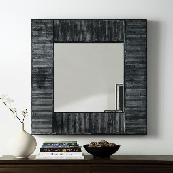 Walker Edison Furniture Company 32 In Transitional Modern Farmhouse Urban Industrial Square Textured Wood Wall Mirror Hd32sqtexgw The Home Depot