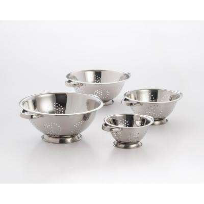 4-Piece Perforated Stainless Steel Colander Set
