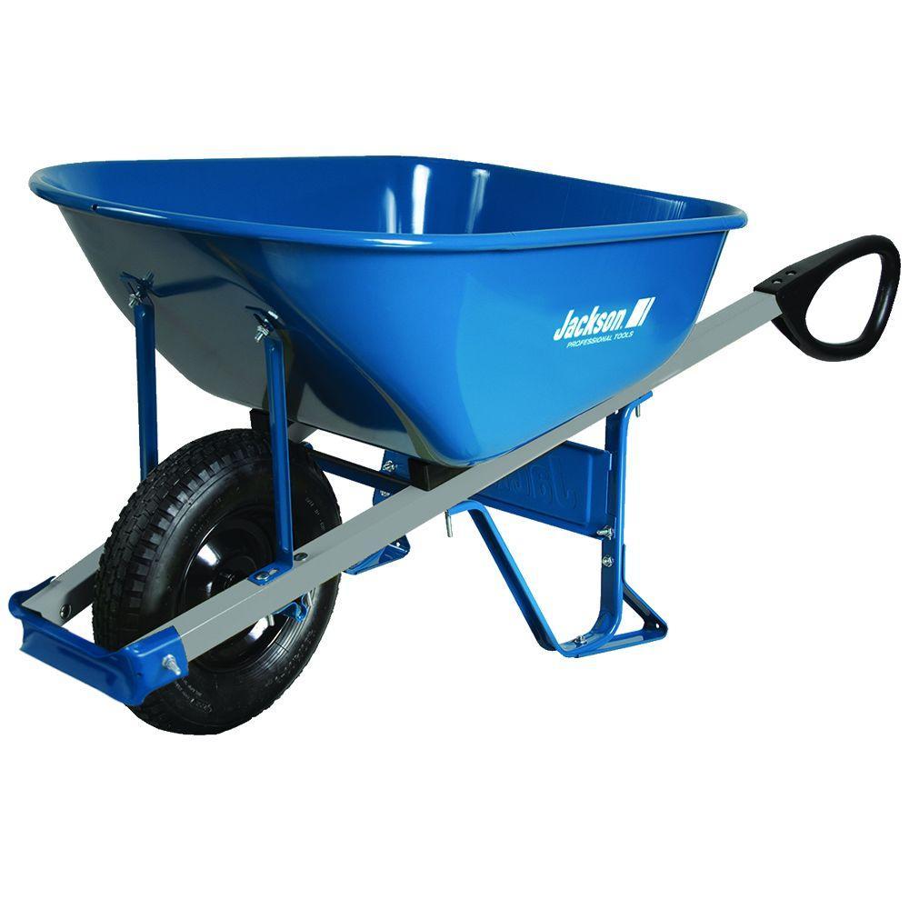 6 cu. ft. Heavy Gauge Seamless Steel Wheelbarrow with Total Control Handles