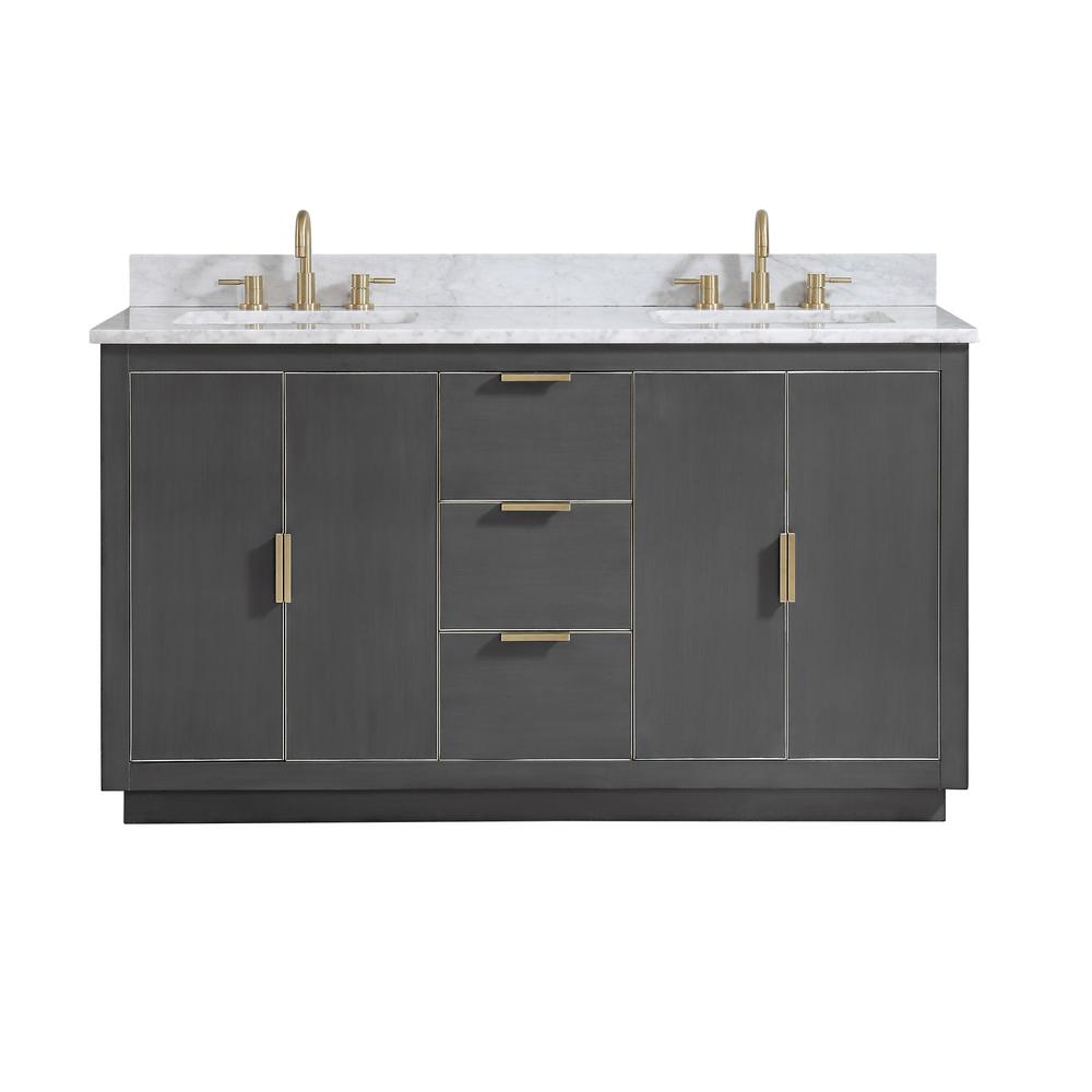 Avanity Austen 61 in. W x 22 in. D Bath Vanity in Gray with Gold Trim with Marble Vanity Top in Carrara White with Basins