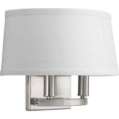 Cherish Collection 2-Light Brushed Nickel Wall Sconce with Linen Shade