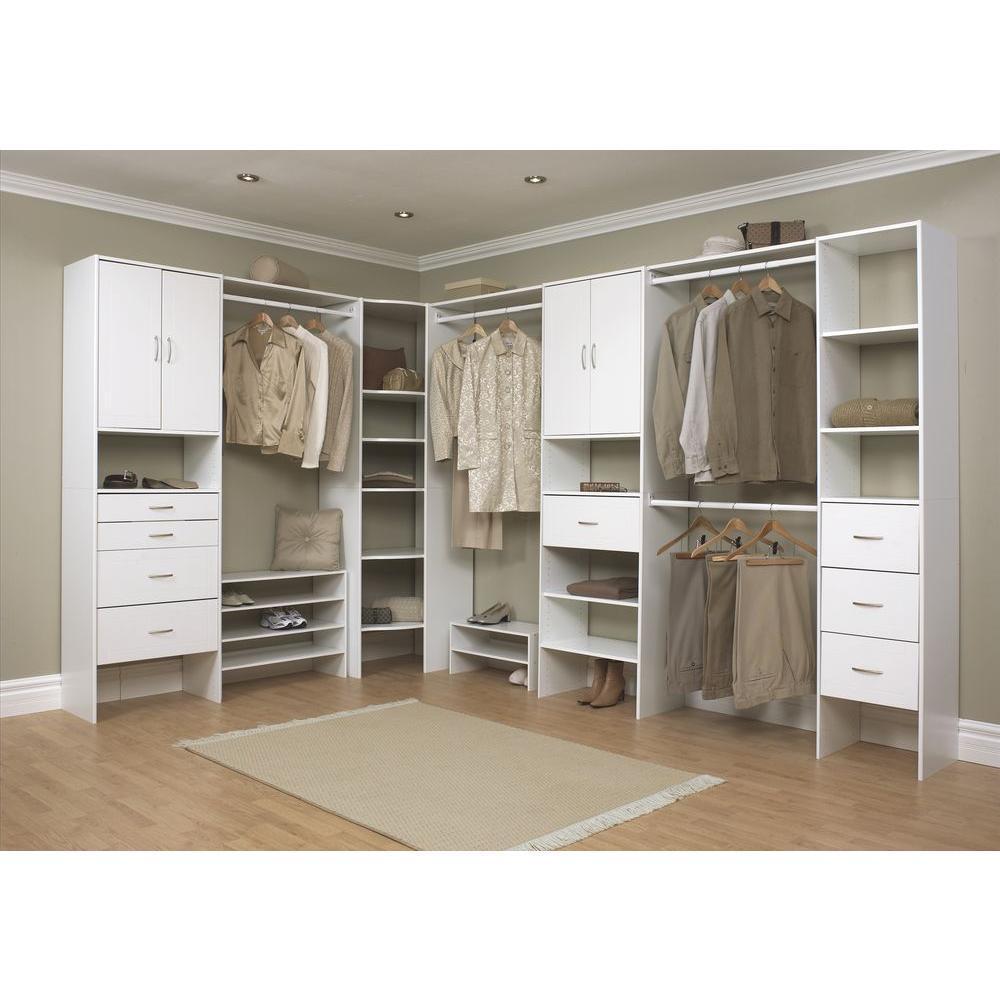 White Wood Closet System 7032, Wardrobe Cabinet Home Depot